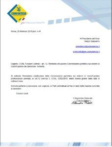 CCNL Funzioni Centrali – art. 12. Richiesta attivazione Commissione paritetica sui sistemi di classificazione del personale. Sollecito.