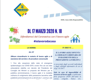 #iolavorodacasa  –                   DL 17 MARZO 2020 N. 18 DIFENDIAMOCI DAL CORONAVIRUS CON IL LAVORO AGILE
